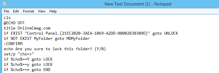 How to password protect a folder using notepad