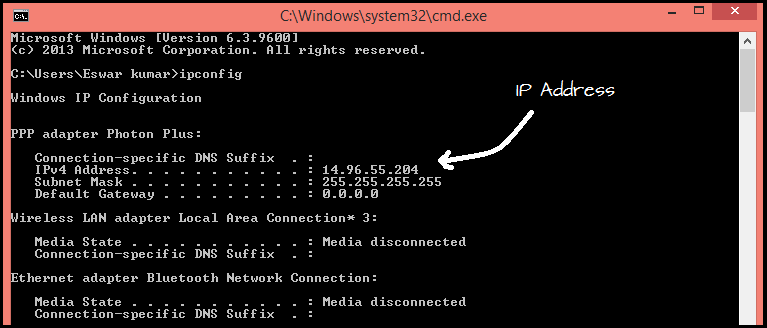 How To Find Out The Private IP Address Of Windows Using The Command line :