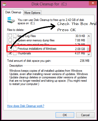 Free Up Your Disk Space  Windows.old folder