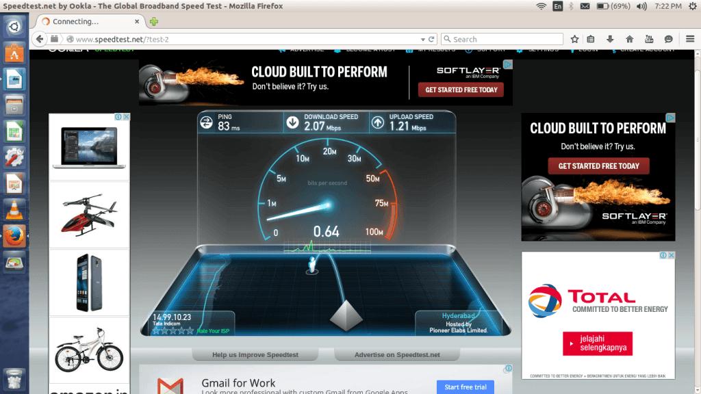Internet connection speed: speed test