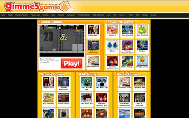 online gaming website gimme5games