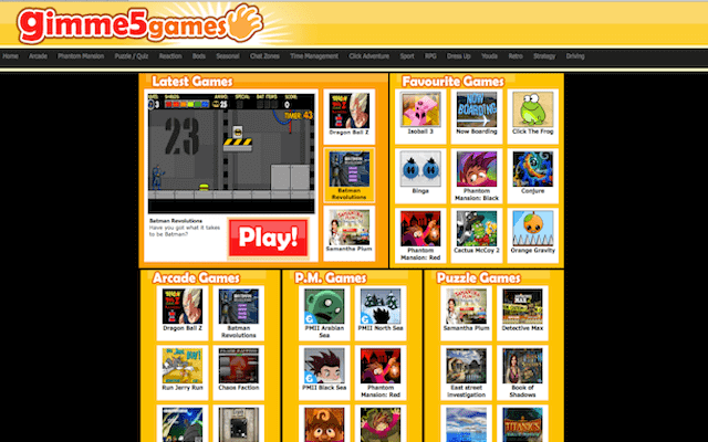 online gaming website gimme5games