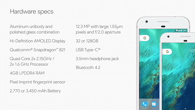 Google Pixel and Google Pixel XL Specs: Phone By Google